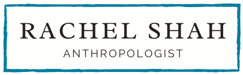 A logo that says 'Rachel Shah, Anthropologist' inside a turquoise rectangular border.